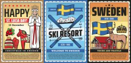 Sweden,Travel,Agency,Vector,Retro,Posters,,Scandinavian,Tourism,,Culture,And