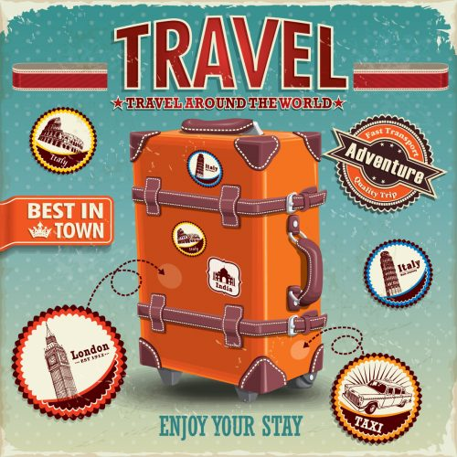 Vintage,Travel,Luggage,Poster,With,Labels